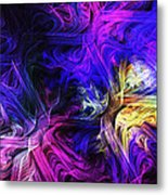 Computer Generated Blue Pink Abstract Fractal Flame Metal Print