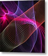 Computer Generated Blue Pink Abstract Fractal Flame Modern Art Metal Print