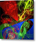 Computer Generated Blue Red Green Abstract Fractal Flame Modern Art Metal Print