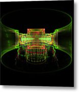 Computer Generated Green 3d Abstract Fractal Flame Art Metal Print