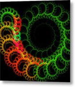 Computer Generated Green Red Abstract Fractal Flame Modern Art Metal Print