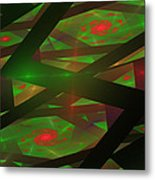 Computer Generated Green Triangles Abstract Fractal Flame Abstract Art Metal Print