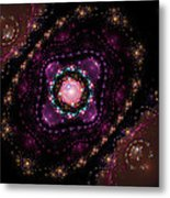 Computer Generated Pink Magenta Abstract Fractal Flame Black Background Metal Print