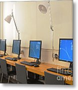 Computer Lab In A Simulation Medical Metal Print