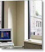 Computer Screen And Keyboard Metal Print by Andersen Ross