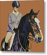 Concentration - Hunter Jumper Horse And Rider Metal Print