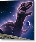 Conceptual Art Of A Ghostly Dinosaur Over The Moon Metal Print by Joe Tucciarone