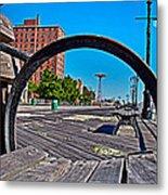 Coney Island Bench View Metal Print