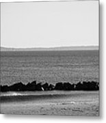 Coney Island Coastline In Black And White Metal Print