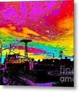 Coney Island In Neon B Flat Minor Metal Print