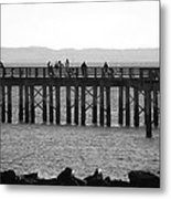 Coney Island Pier In Black And White Metal Print