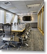 Conference Table And Chairs Metal Print