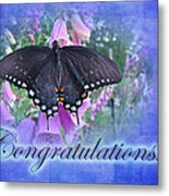 Congratulations Greeting Card - Spicebush Swallowtail Butterfly Metal Print