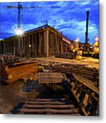 Constraction Site At Night Metal Print