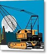 Construction Crane Hoist Retro Metal Print