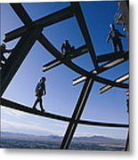 Construction Workers On Beams Metal Print