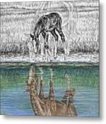 Contemplating Reality - Mare And Foal Horse Print Metal Print