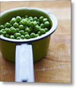 Cooking Pot With Green Peas Metal Print