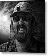 Cool Hat Monochrome Metal Print