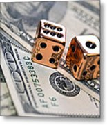Copper Dice And Money Metal Print