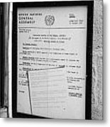 copy of the UN general assembly resolution about the missing persons in cyprus  Metal Print