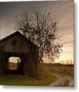 Corn Crib Metal Print