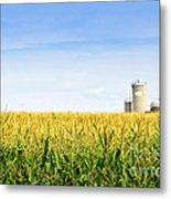 Corn Field With Silos Metal Print