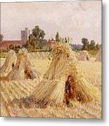 Corn Stooks By Bray Church Metal Print by Heywood Hardy