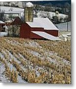 Corn Stubble And Barn In A Wintery Metal Print