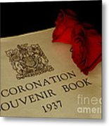 Coronation Book With Roses Metal Print