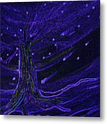 Cosmic Tree Blue Metal Print