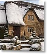 Cotswolds Cottage Covered In Snow Metal Print
