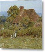 Cottage At Broadham Green Surrey In Sunset Light Metal Print