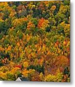 Cottage In Front Of Autumn Colours Metal Print