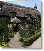 Cottage With Flowers Metal Print