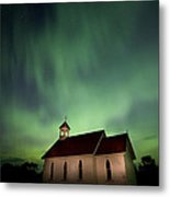Country Church And Northern Lights Metal Print