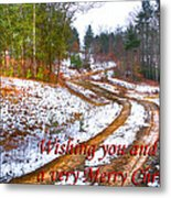 Country Lane Holiday Card Metal Print