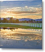 Country Sunset Reflection Metal Print