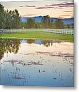Country Sunset Reflections Metal Print