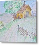Country Woodshed Metal Print by Debbie Portwood