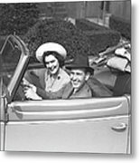 Couple Riding In Old Fashion Convertible Car, (b&w),, Portrait Metal Print by George Marks