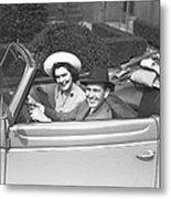 Couple Riding In Old Fashion Convertible Car, (b&w),, Portrait Metal Print