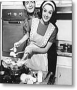 Couple Standing In Kitchen, Smiling, (b&w) Metal Print
