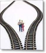 Couple Two Figurines Between Two Tracks Leading Into Different Directions Symbolic Image For Making Decisions Metal Print