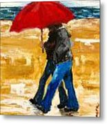Couple Under A Red Umbrella Metal Print