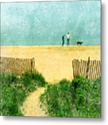 Couple Walking Dog On Beach Metal Print by Jill Battaglia