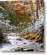 Courthouse River In The Fall Metal Print