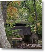 Covered Bridge By The Cottage  Metal Print