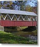 Covered Bridge In Fall Metal Print