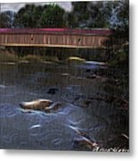 Covered Bridge In The Rain Metal Print